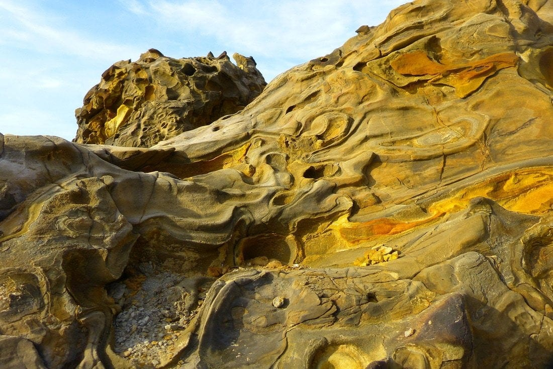 a detail of the rocks of Tusan Beach