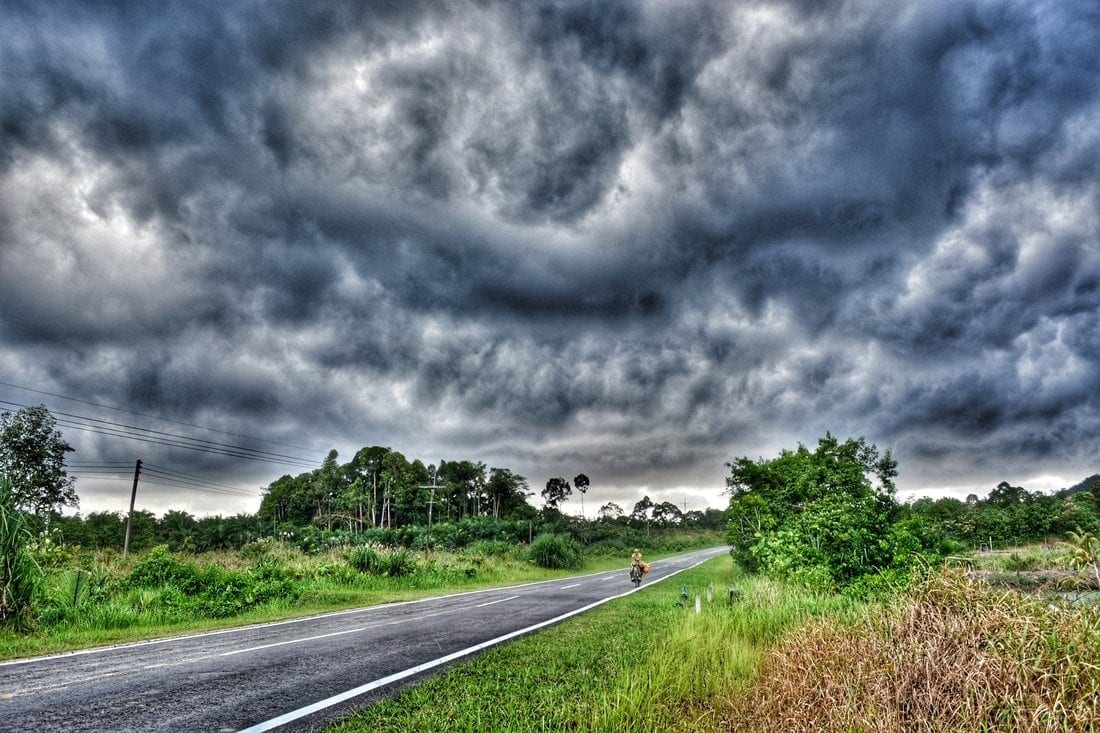 a sudden monsoonic storm caught us on the road to Gunung Gading