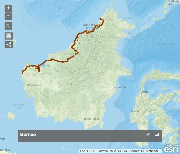 borneo bikepacking cycling map GPX