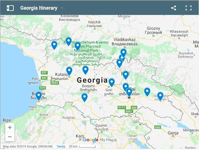 georgia itinerary things to do map