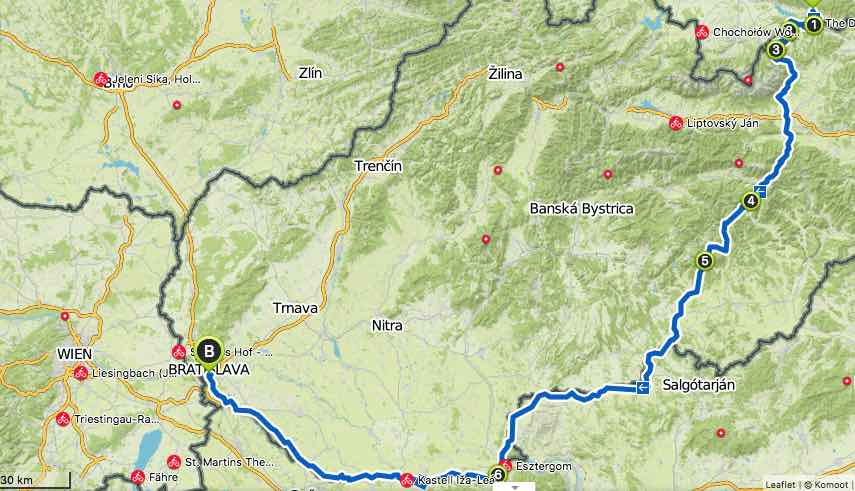 Cycling Slovakia Route Map