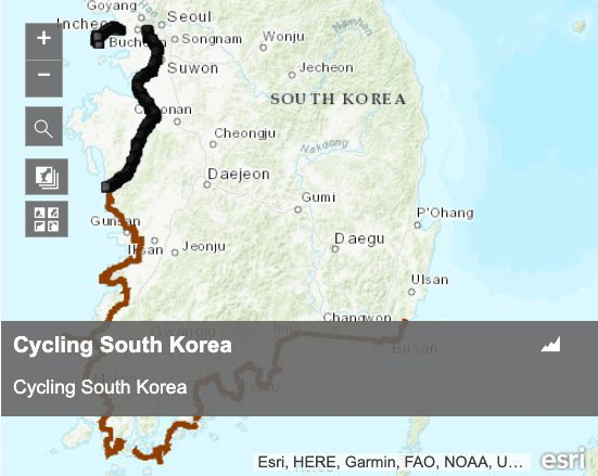 Korea cycle map GPX