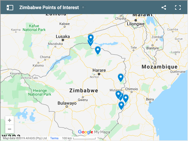 zimbabwe tourist attractions map